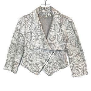 Anthropologie Moth Embroidered Zip Front Blazer S